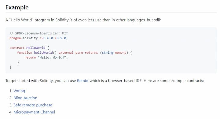 Solidity code example