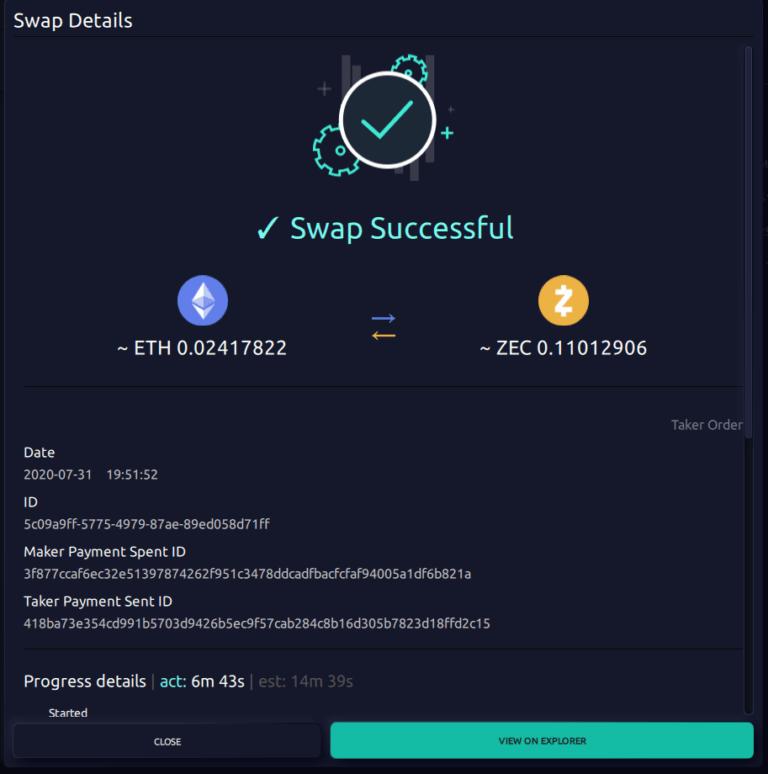 Successful atomic swap on AtomicDEX