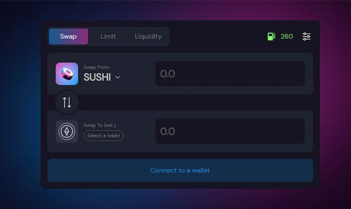 SushiSwap app interface