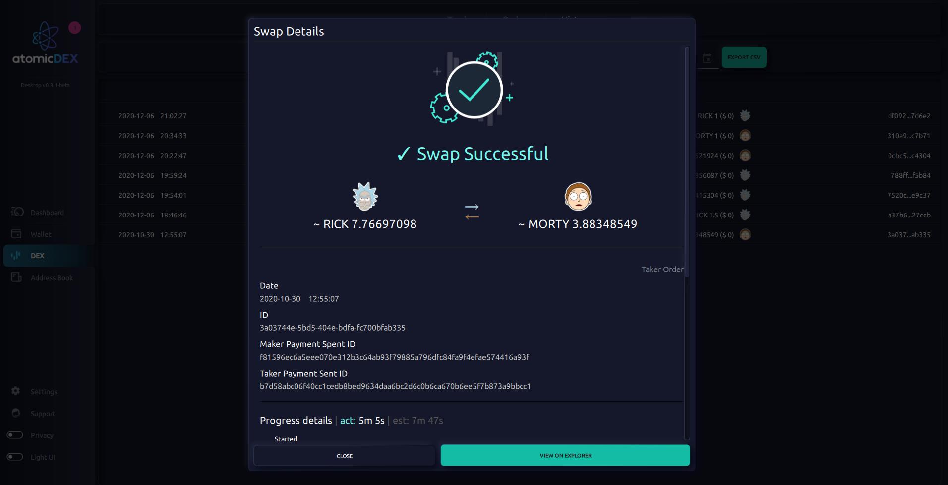 Successful Atomic Swap