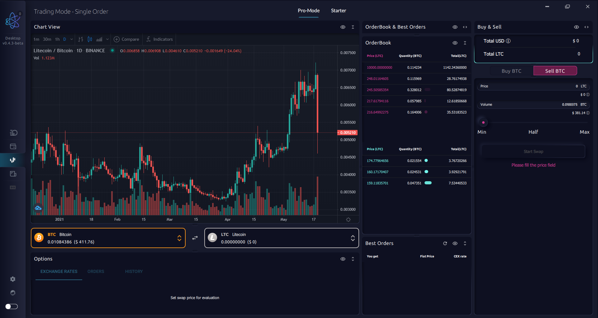Trade BTC, LTC, and more on DEX trading interface. AtomicDEX v0.4.3 DEX/ Trading Interface