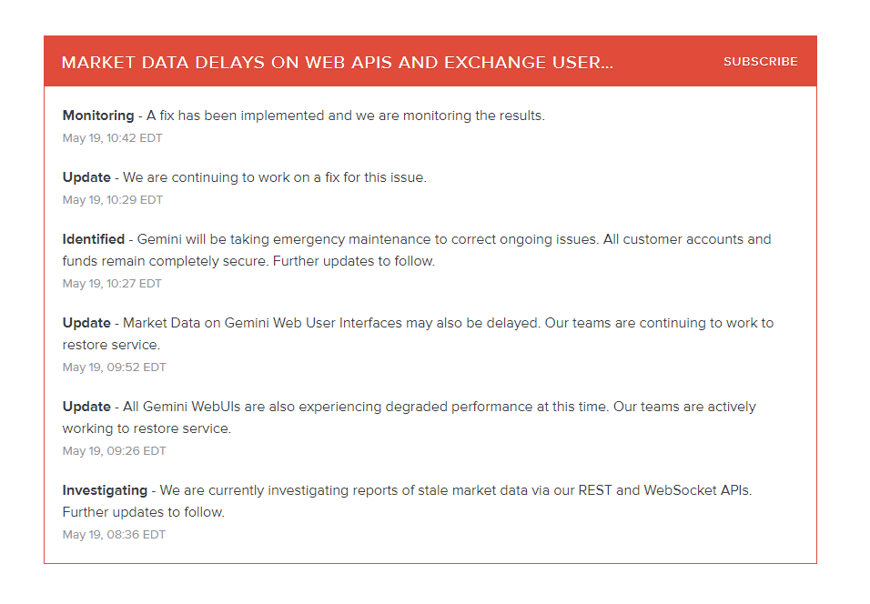 Gemini exchange downtime issues on May 19, 2021