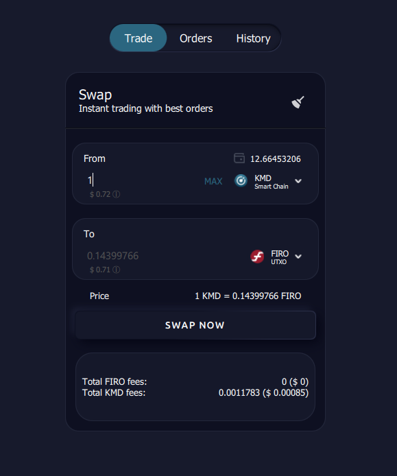 AtomicDEX Simple Trading View