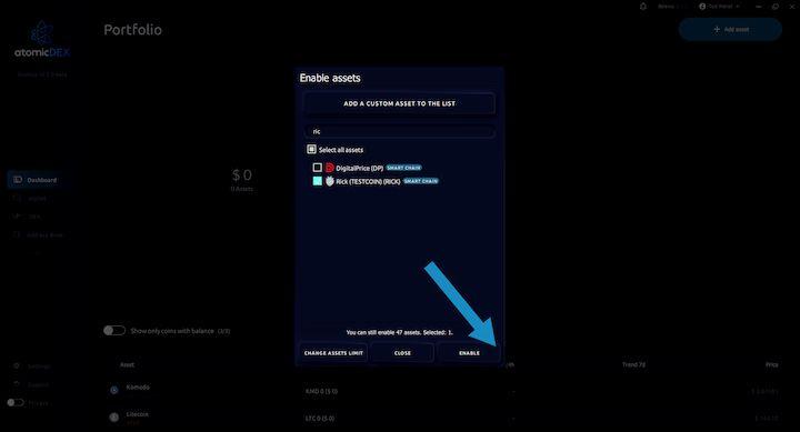 AtomicDEX Enable RICK Asset