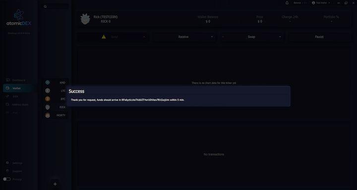AtomicDEX RICK Faucet Confirmation