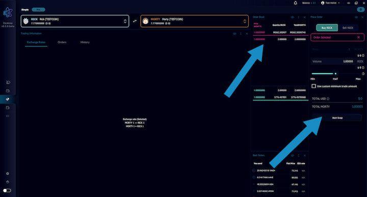 AtomicDEX Select Trade Amounts